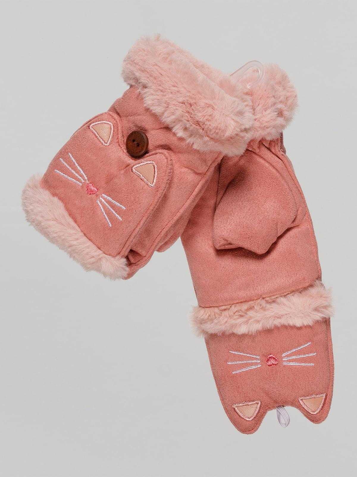 Митенки розовые с вышивкой | 4678780
