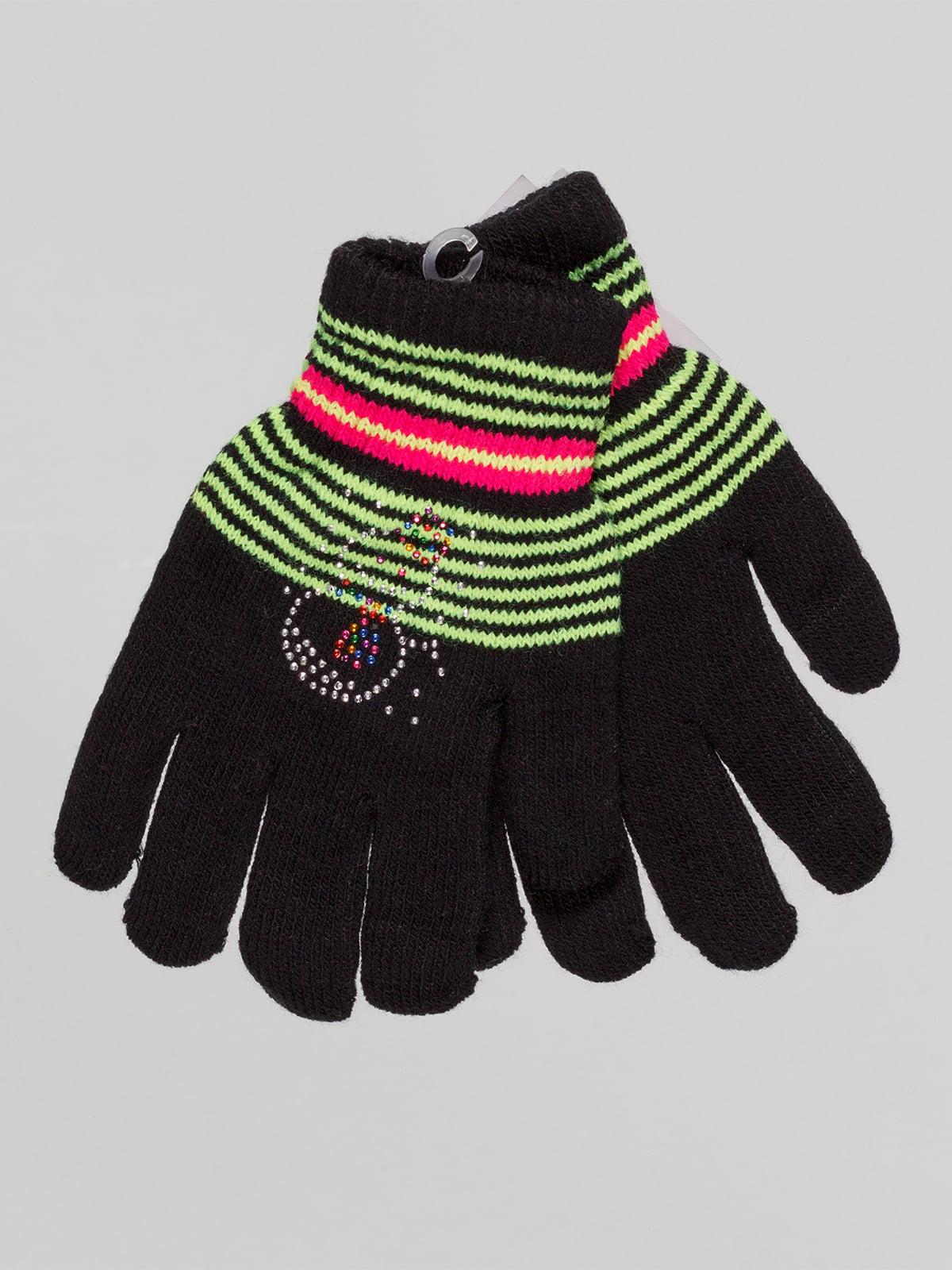 Перчатки черные в полоску с декором | 4655262