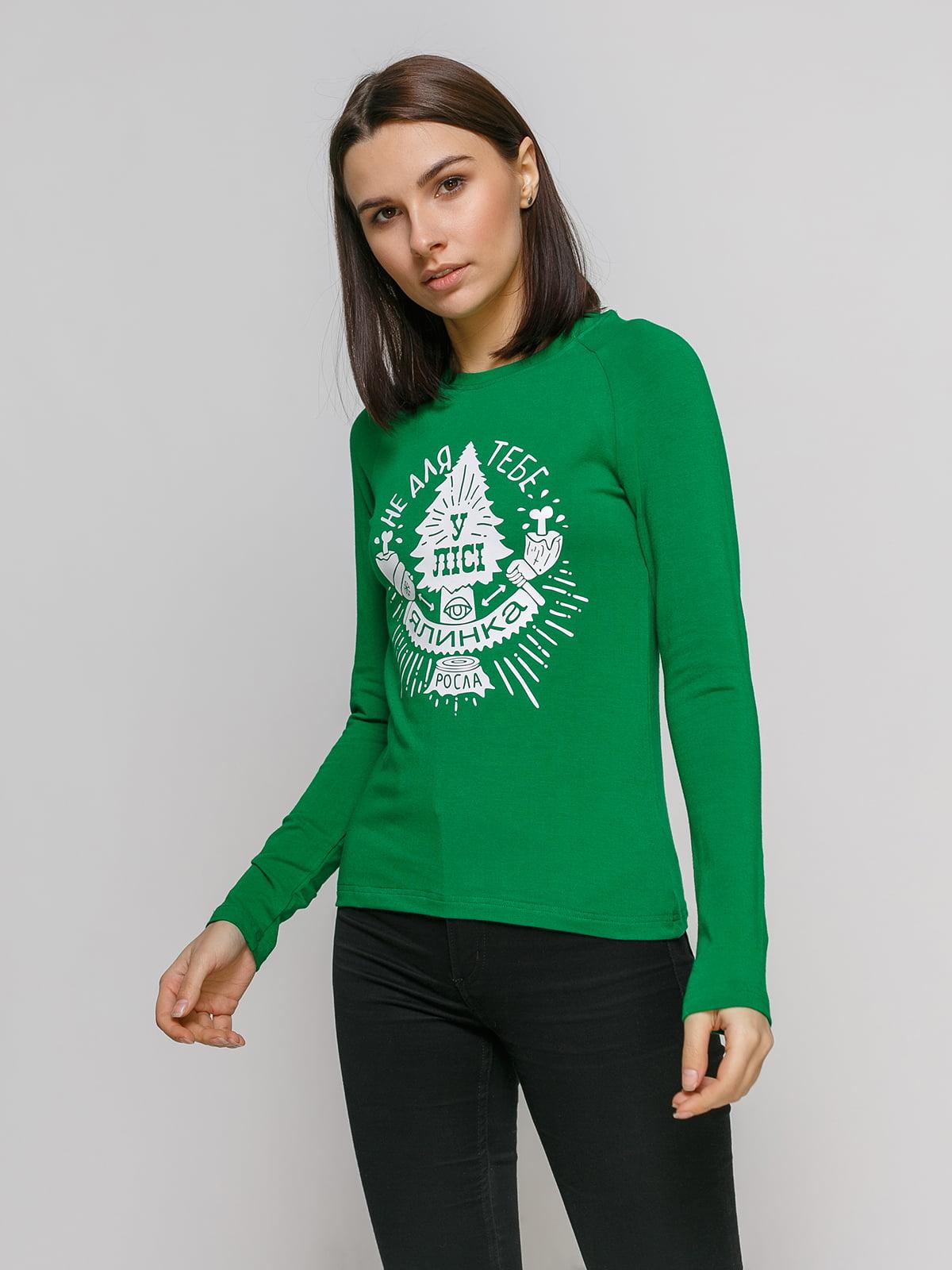 Лонгслив зеленый с принтом   4768861