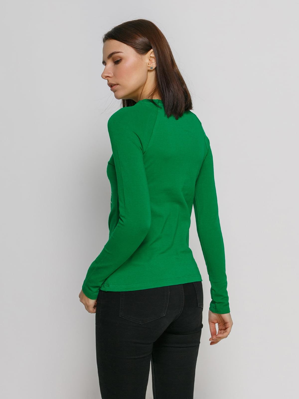 Лонгслив зеленый с принтом   4768861   фото 2