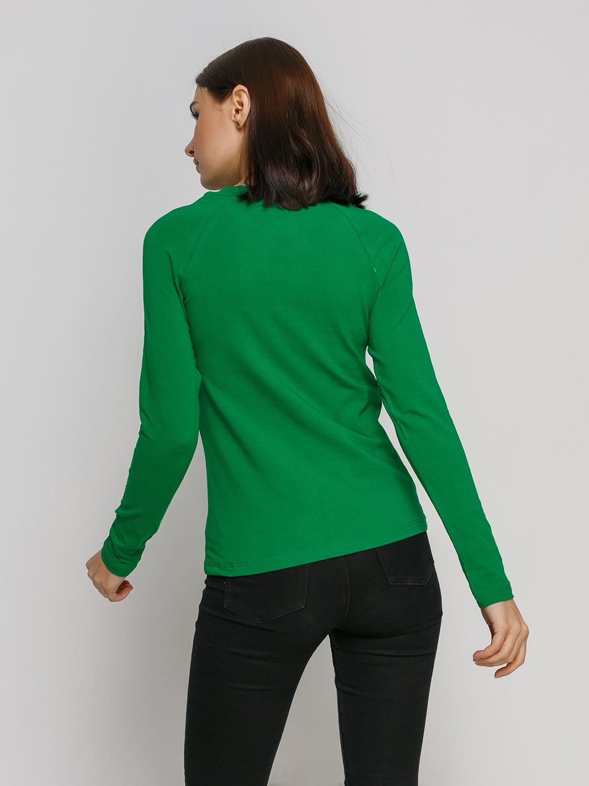 Лонгслив зеленый с принтом   4768862   фото 2