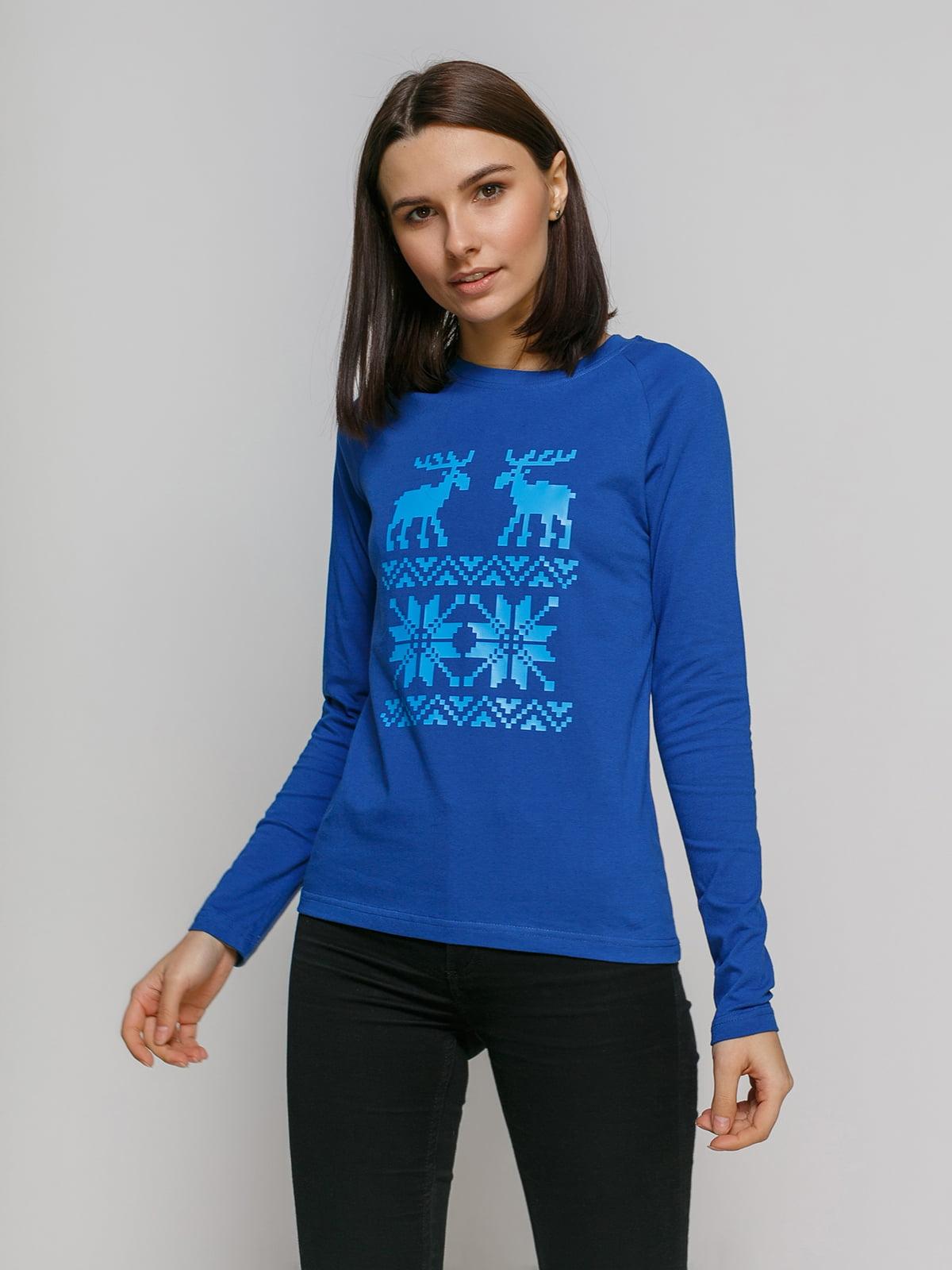 Лонгслив синий с принтом | 4768864