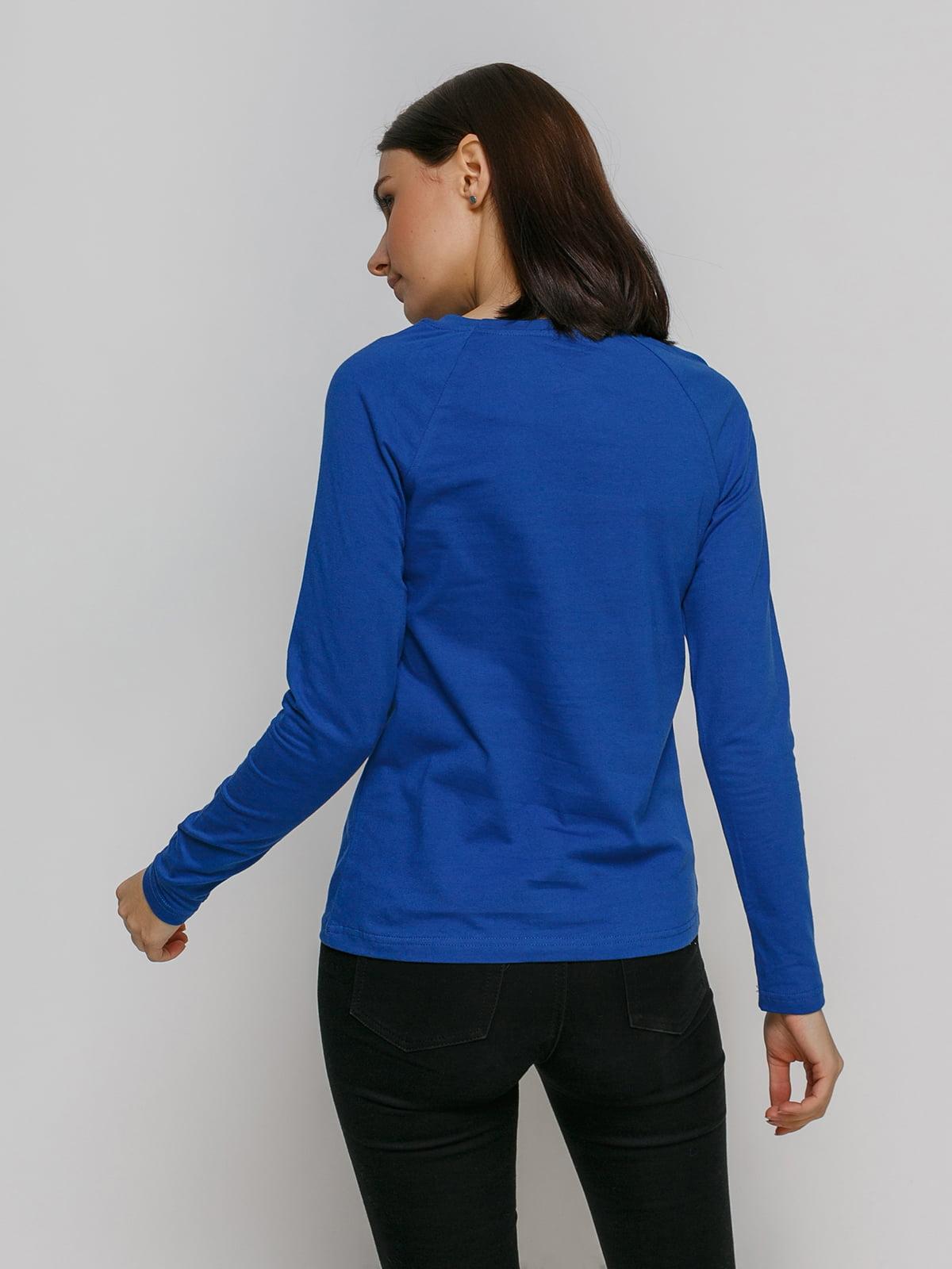 Лонгслив синий с принтом | 4768864 | фото 2