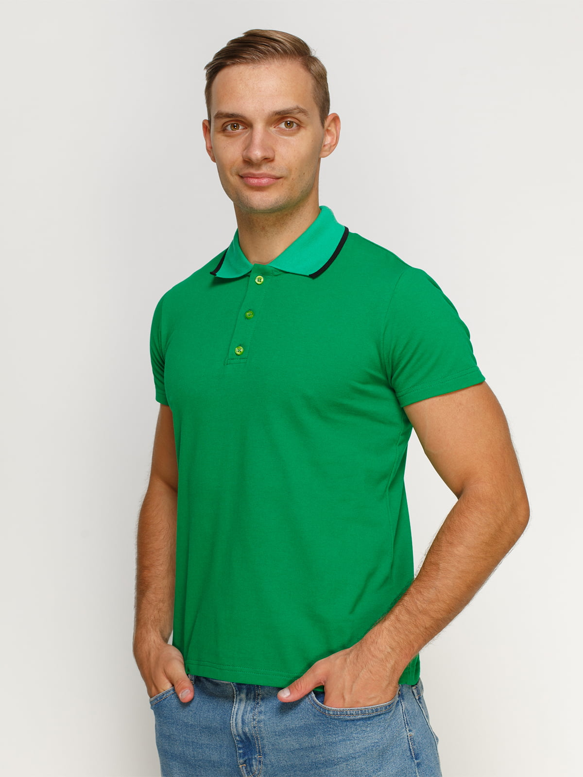 Футболка-поло зелена | 4768976