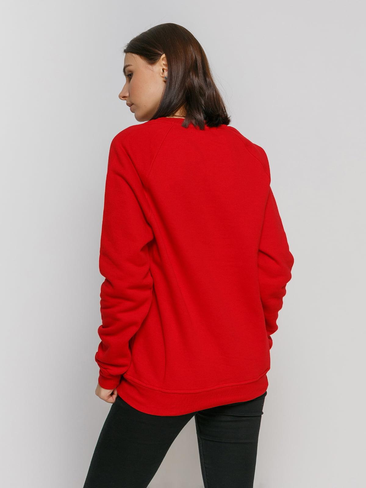 Свитшот красный с принтом и начесом | 4768878 | фото 2