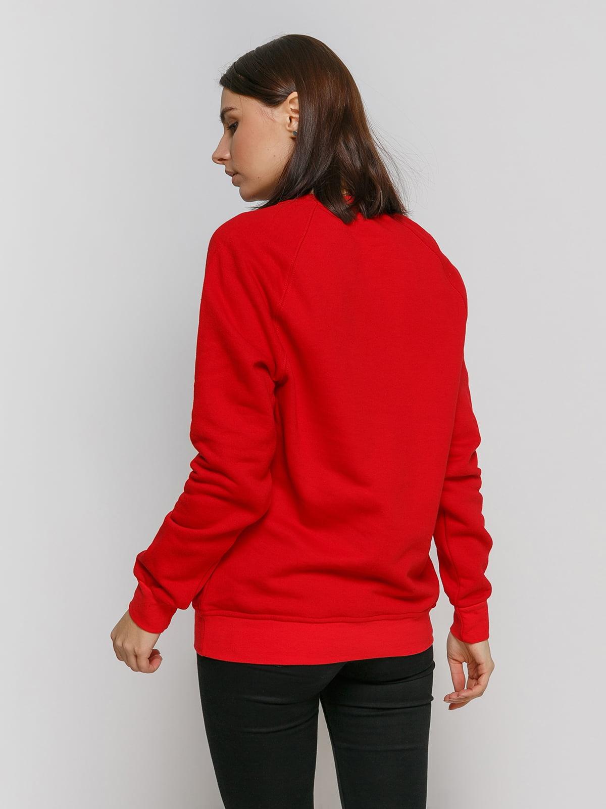 Свитшот красный с принтом и начесом | 4768877 | фото 2