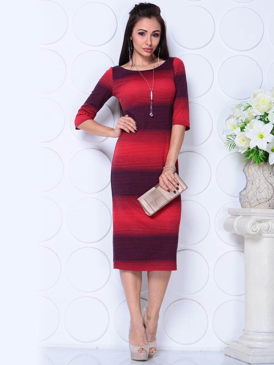 Сукня червоно-синя в смужку | 4771500