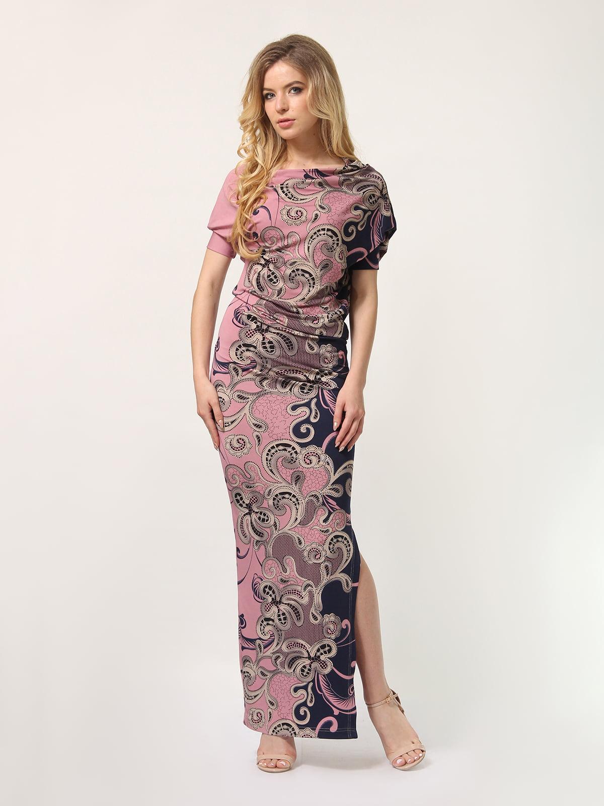 Сукня двоколірна з принтом | 4771674
