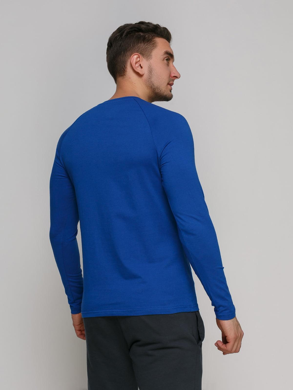 Лонгслив синий с принтом | 4768856 | фото 2
