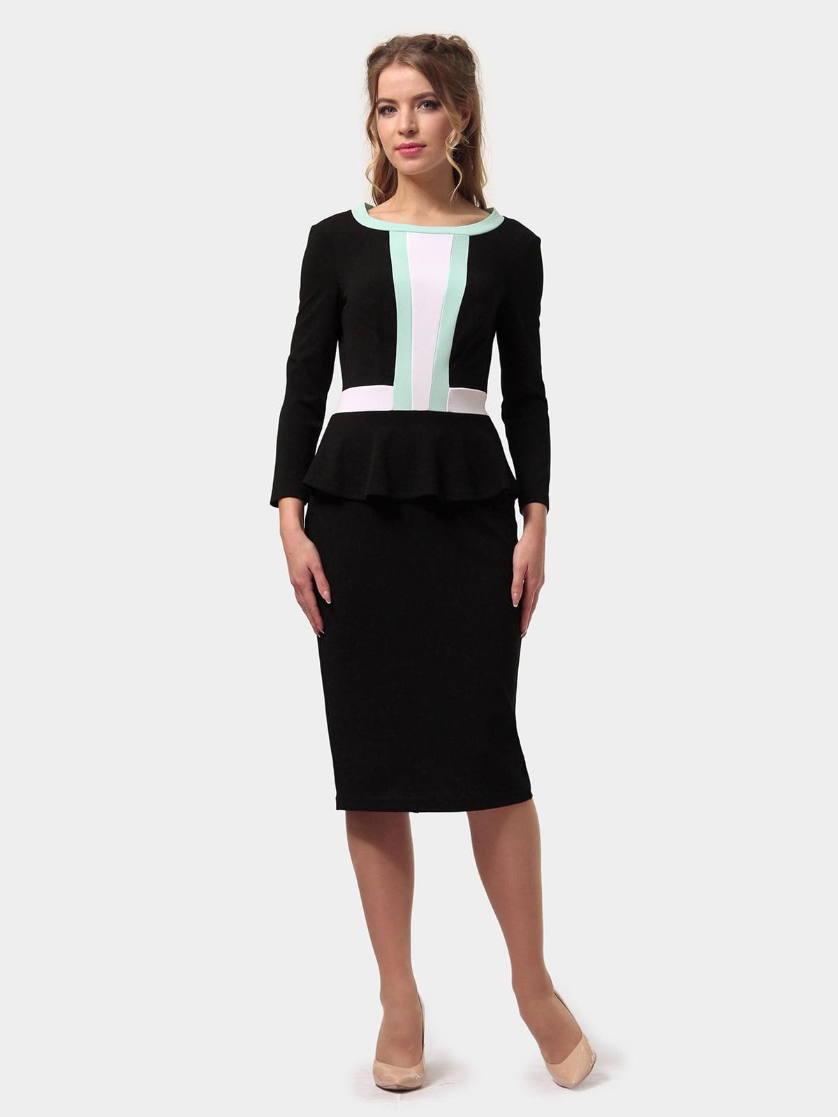 Платье черно-мятного цвета | 4775698