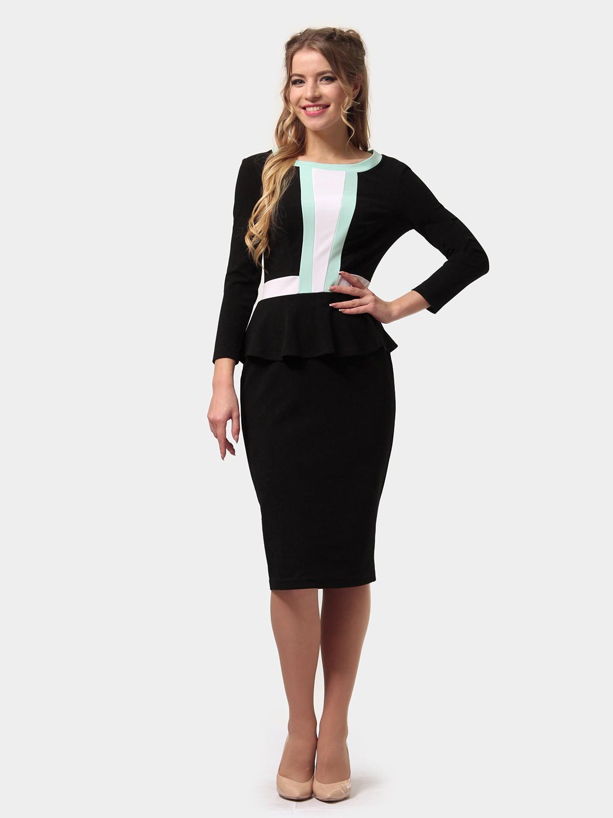 Платье черно-мятного цвета | 4775698 | фото 2