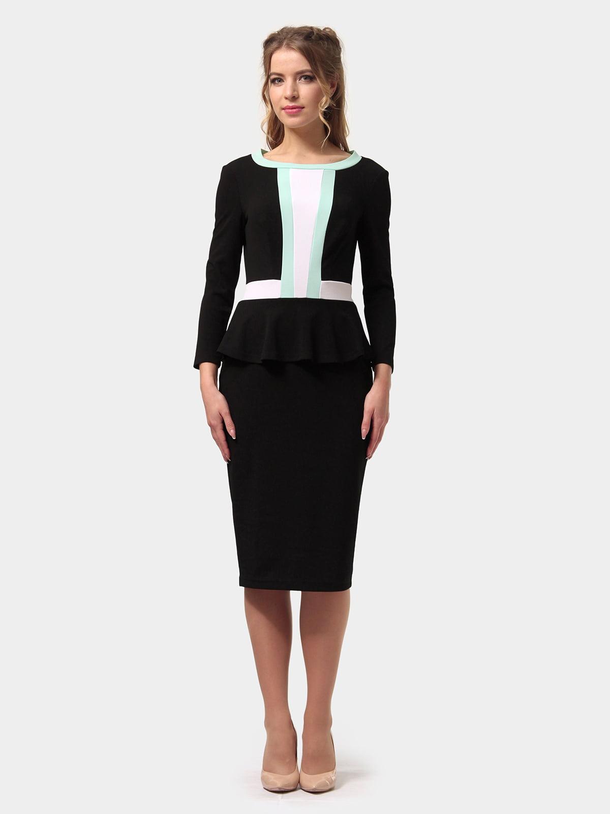 Платье черно-мятного цвета | 4775698 | фото 3