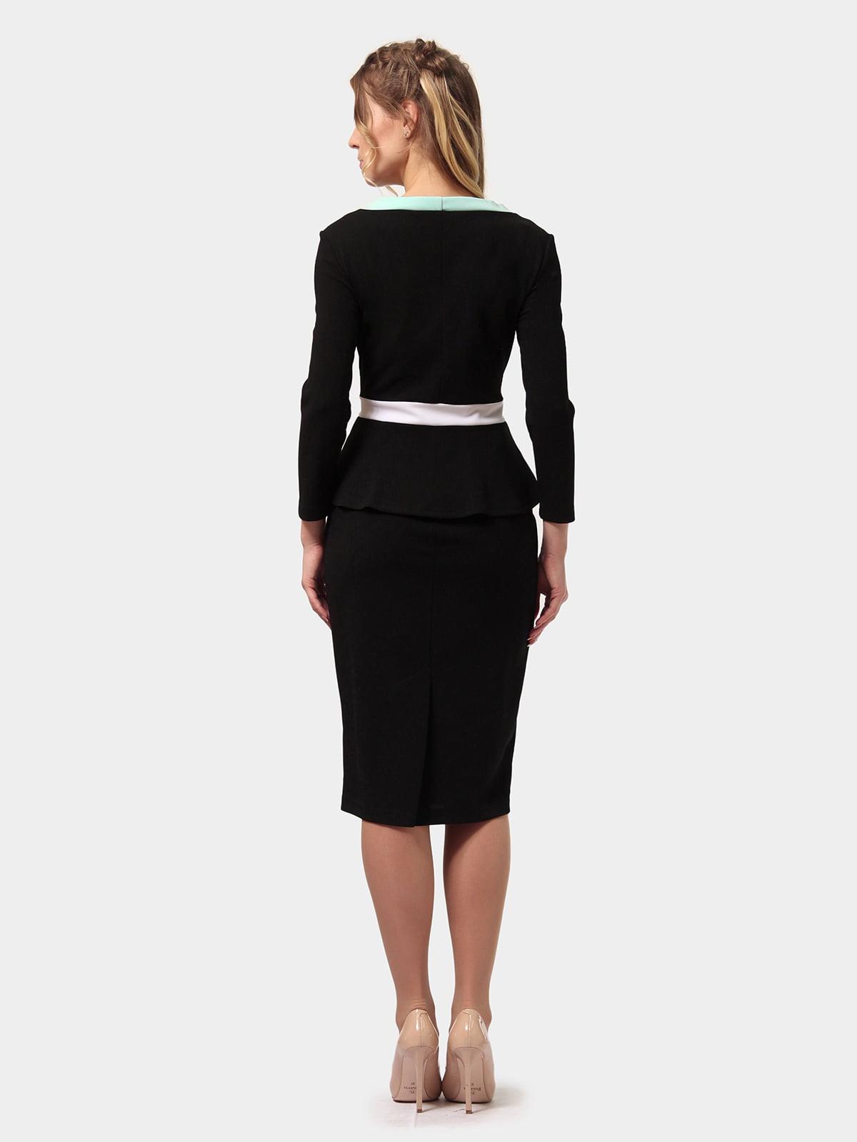 Платье черно-мятного цвета | 4775698 | фото 4