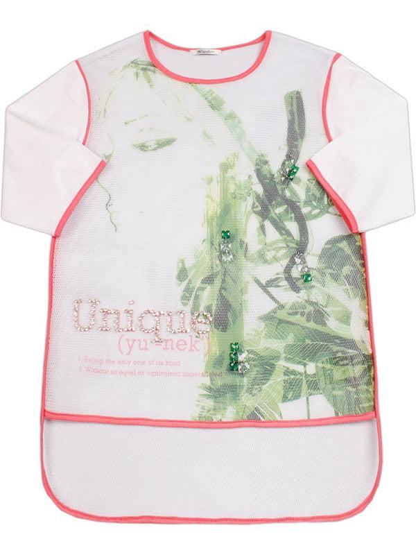 Блуза біла з принтом | 4781481