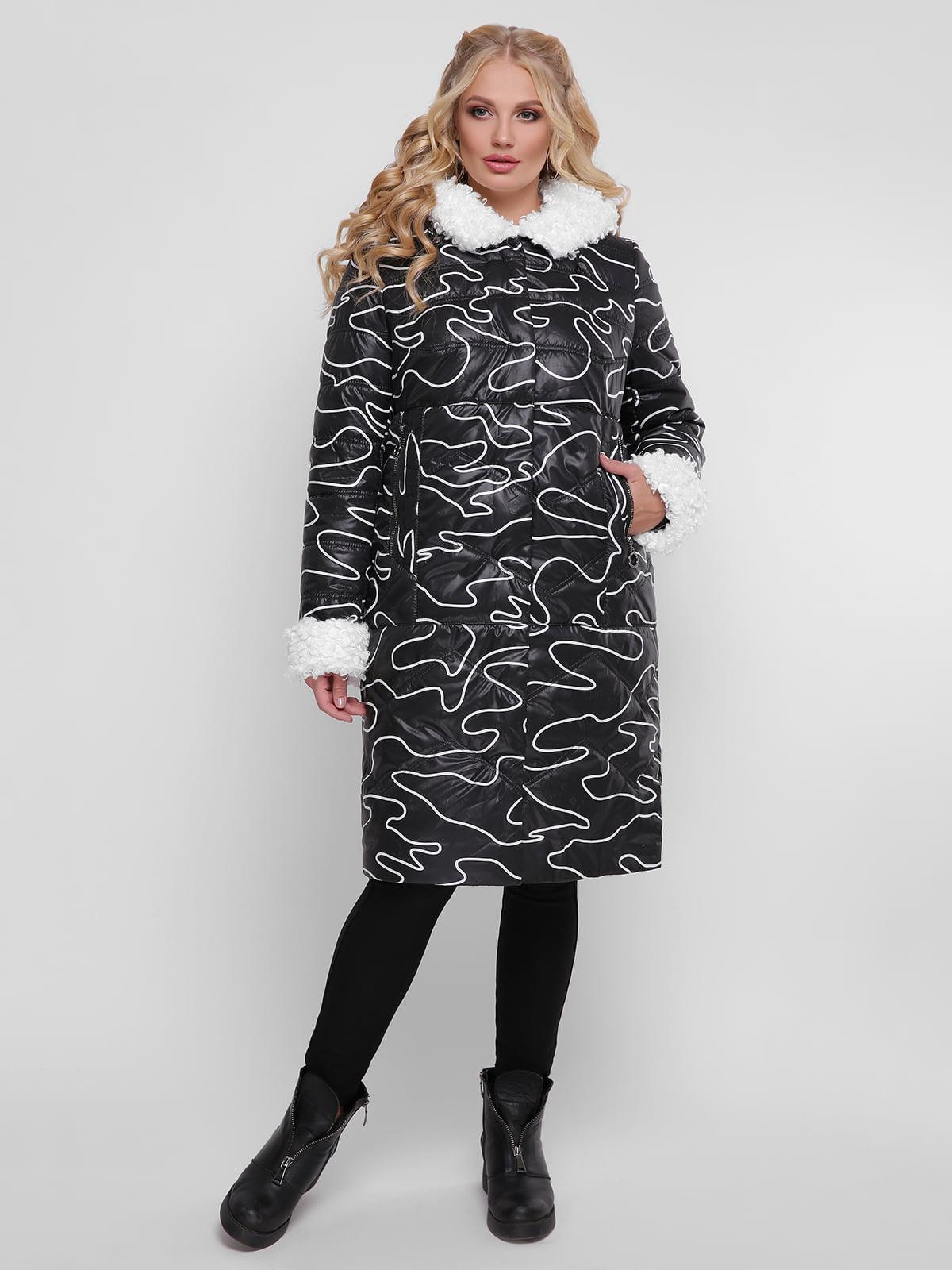 Пальто черное в принт | 4781710