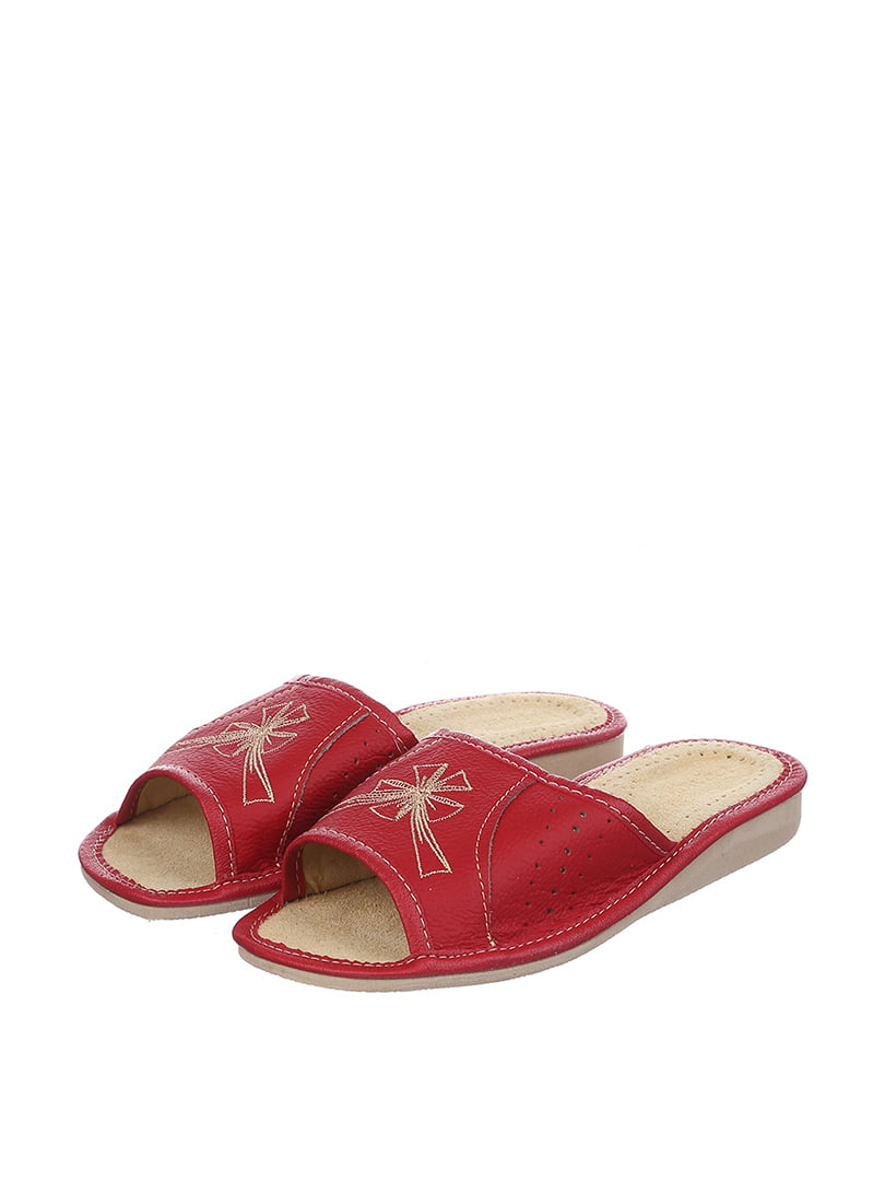 Тапочки красные с вышивкой | 4599432