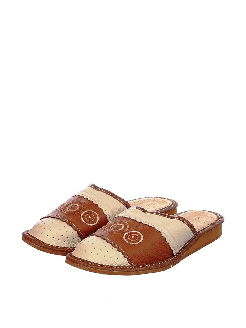 Тапочки бежево-коричневые | 4599480