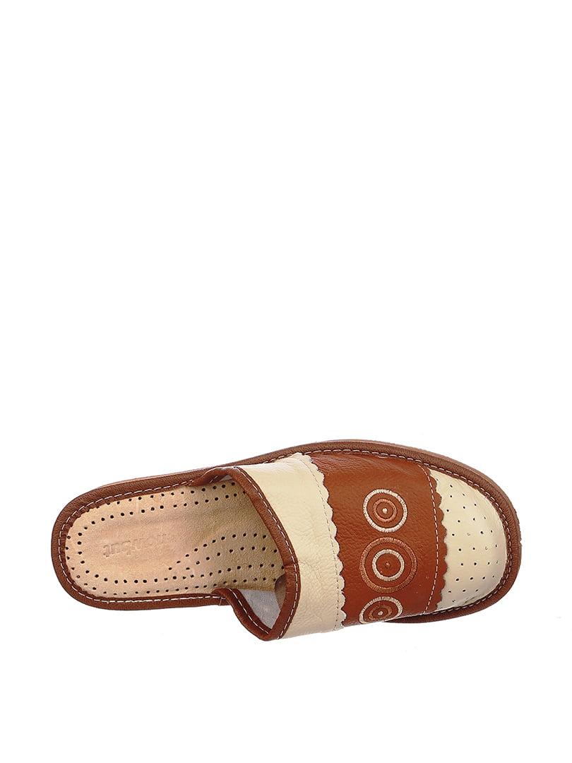 Тапочки бежево-коричневые | 4599480 | фото 2
