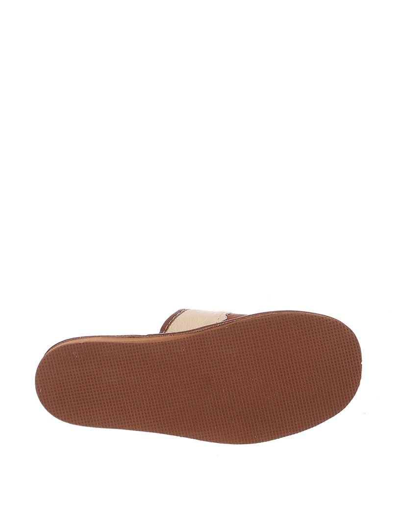Тапочки бежево-коричневые | 4599480 | фото 3