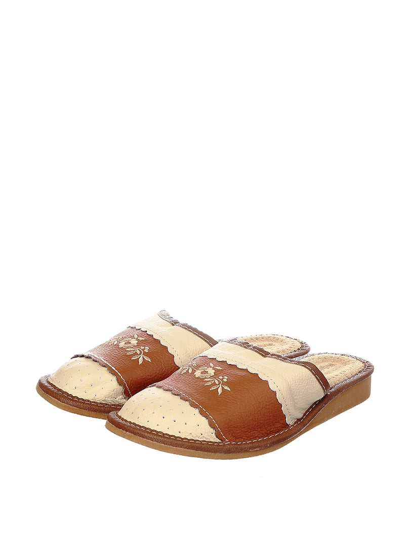 Тапочки бежево-коричневые   4599495