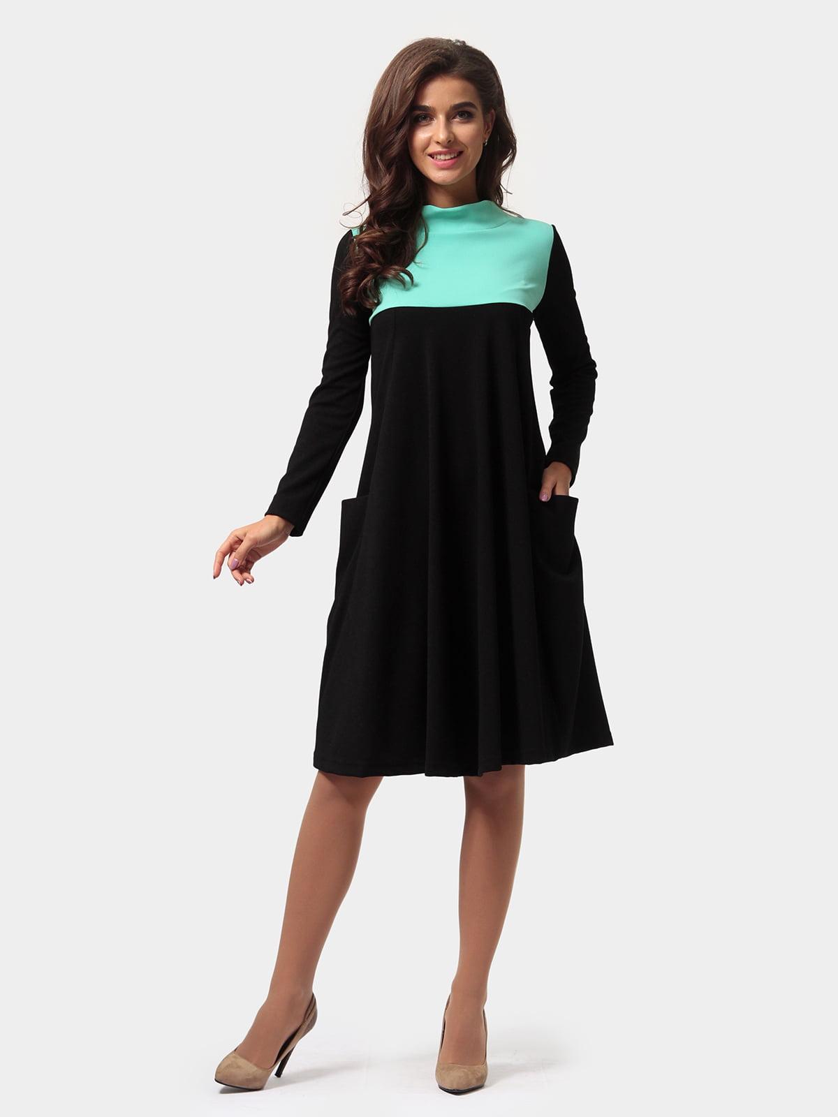Платье черно-бирюзовое   4784885