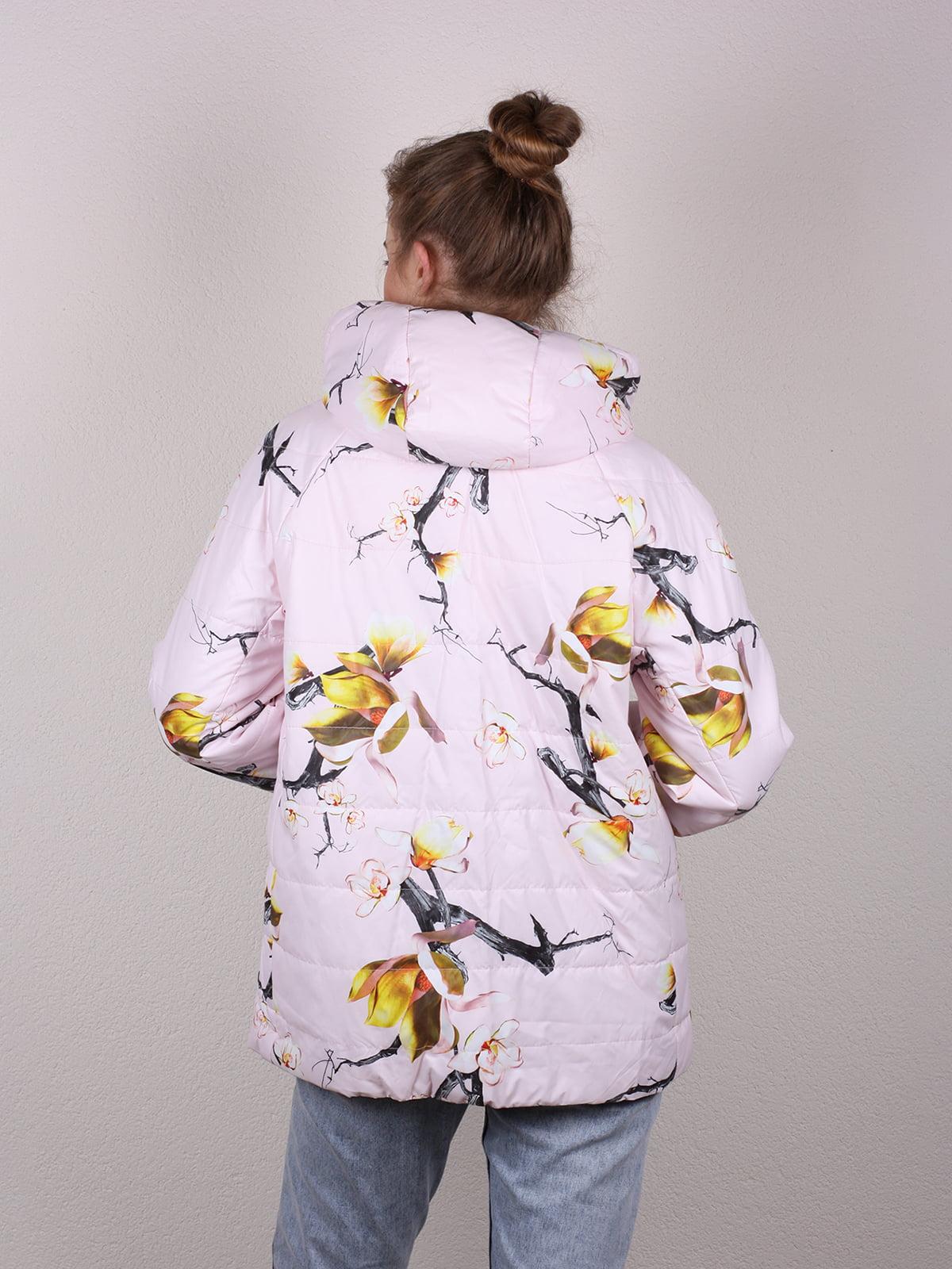 Куртка цвета пудры в принт | 4770579 | фото 4