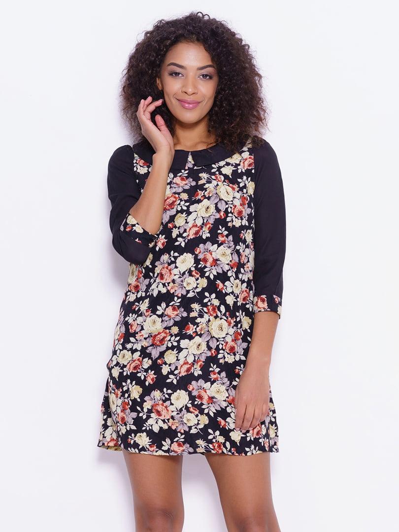 Платье черное с цветочным принтом | 4782138