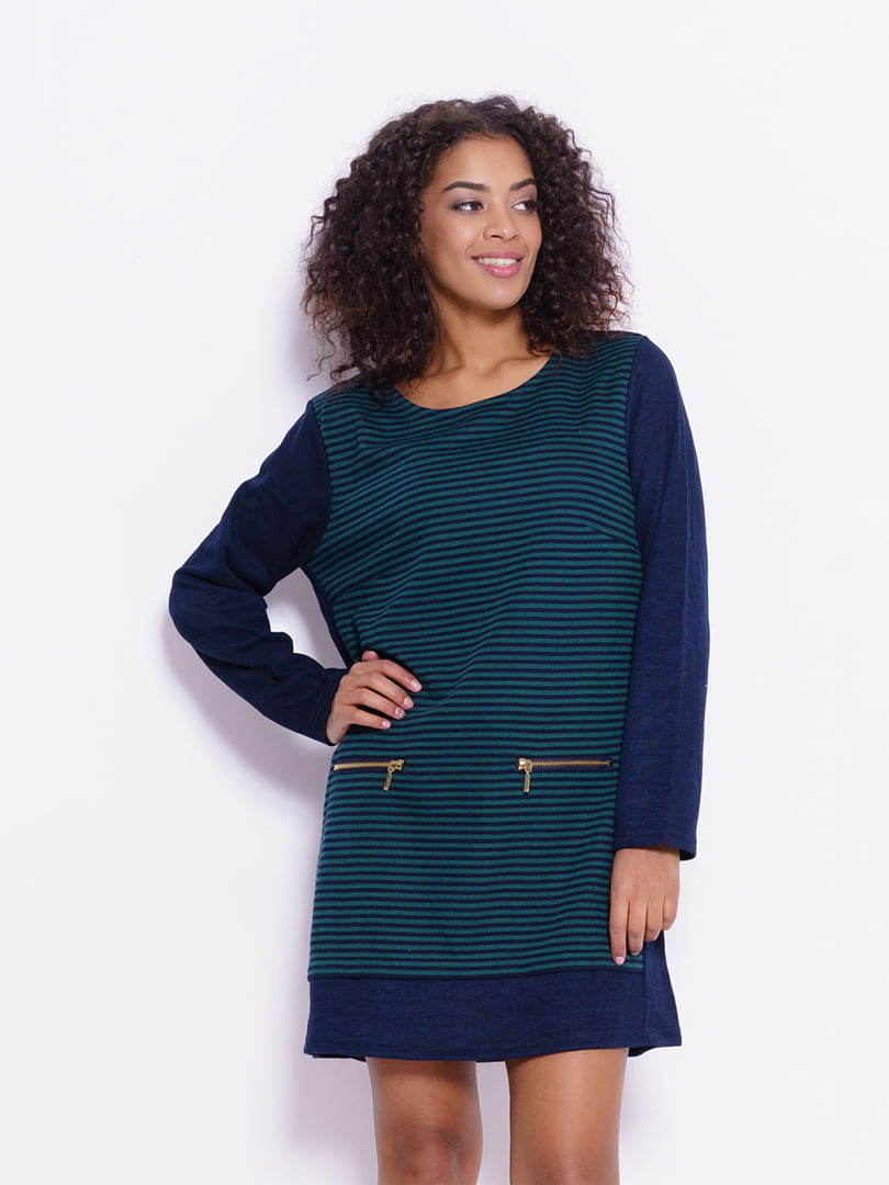 Платье сине-зеленое в полоску | 4782142
