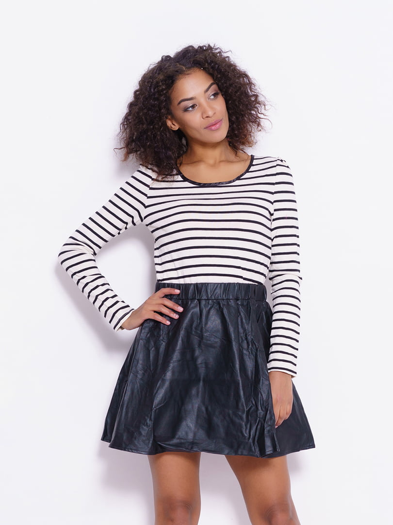 Платье черно-белое с полосками | 4782260