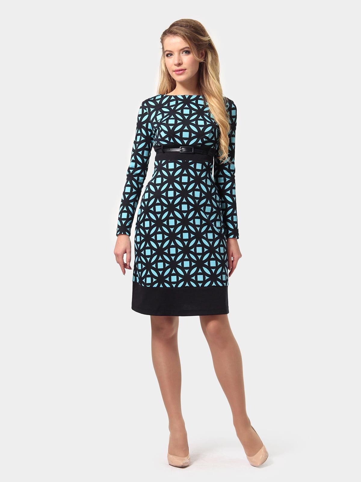 Платье сине-голубое в принт | 4794776
