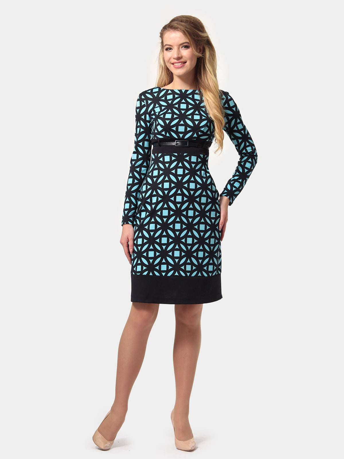 Платье сине-голубое в принт | 4794776 | фото 2