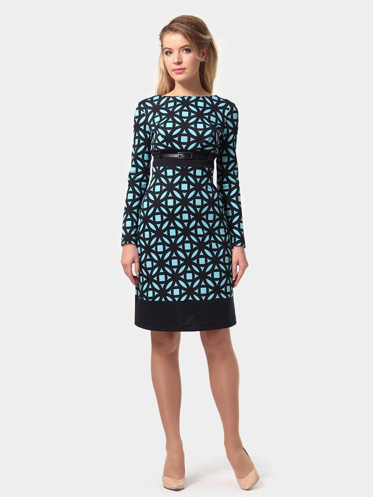 Платье сине-голубое в принт | 4794776 | фото 3