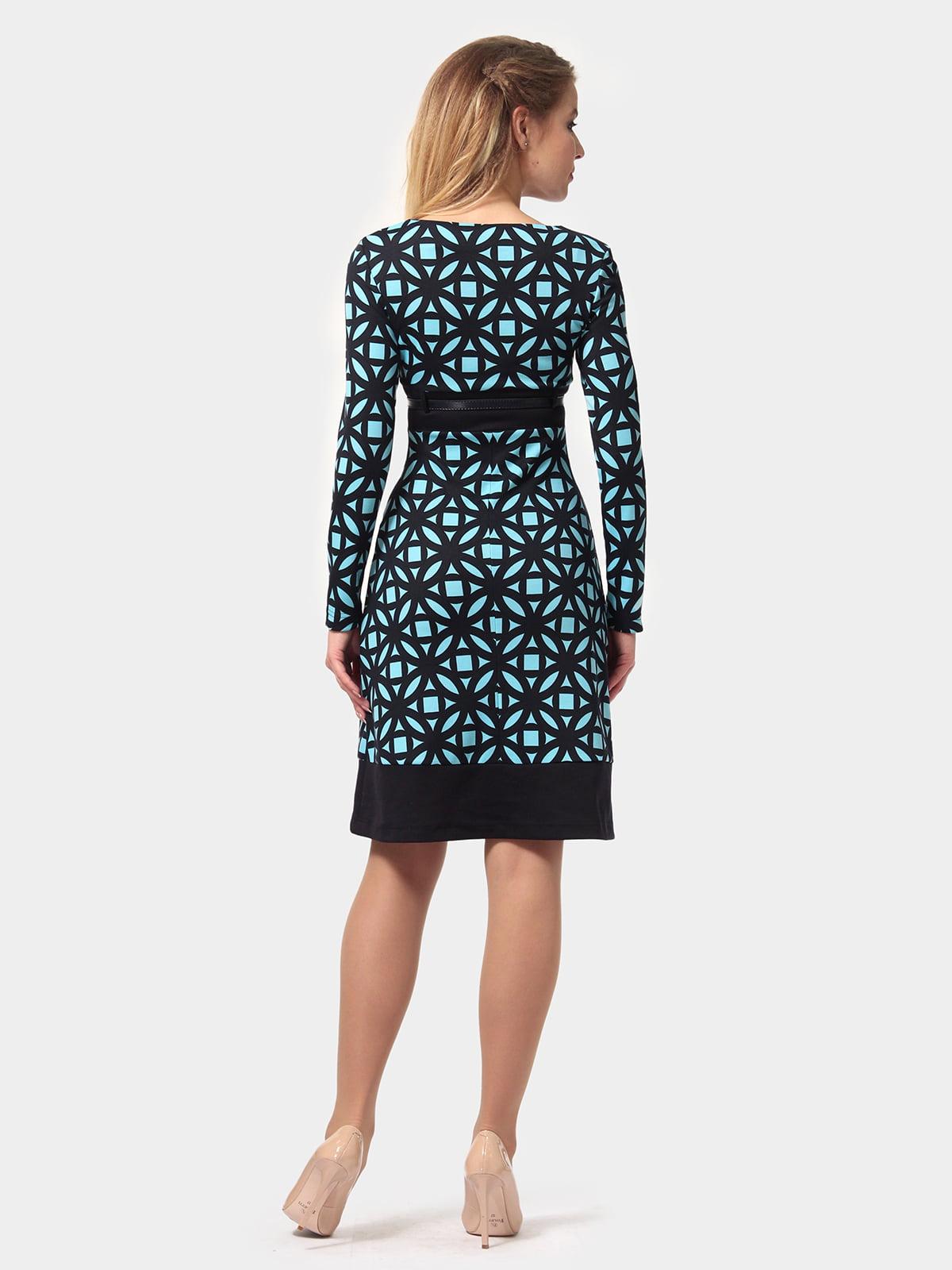 Платье сине-голубое в принт | 4794776 | фото 4