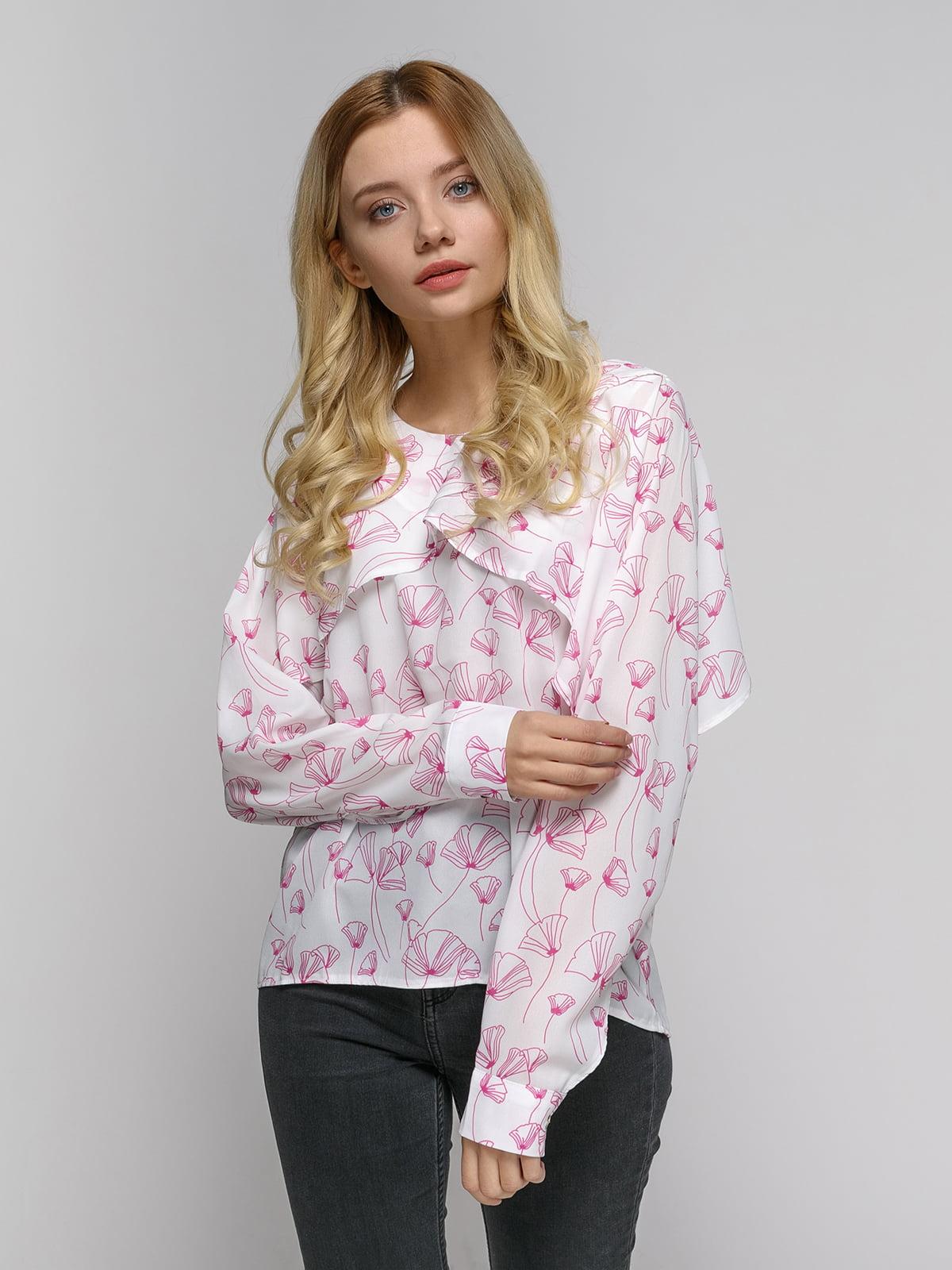 Блуза белая в принт | 4794106