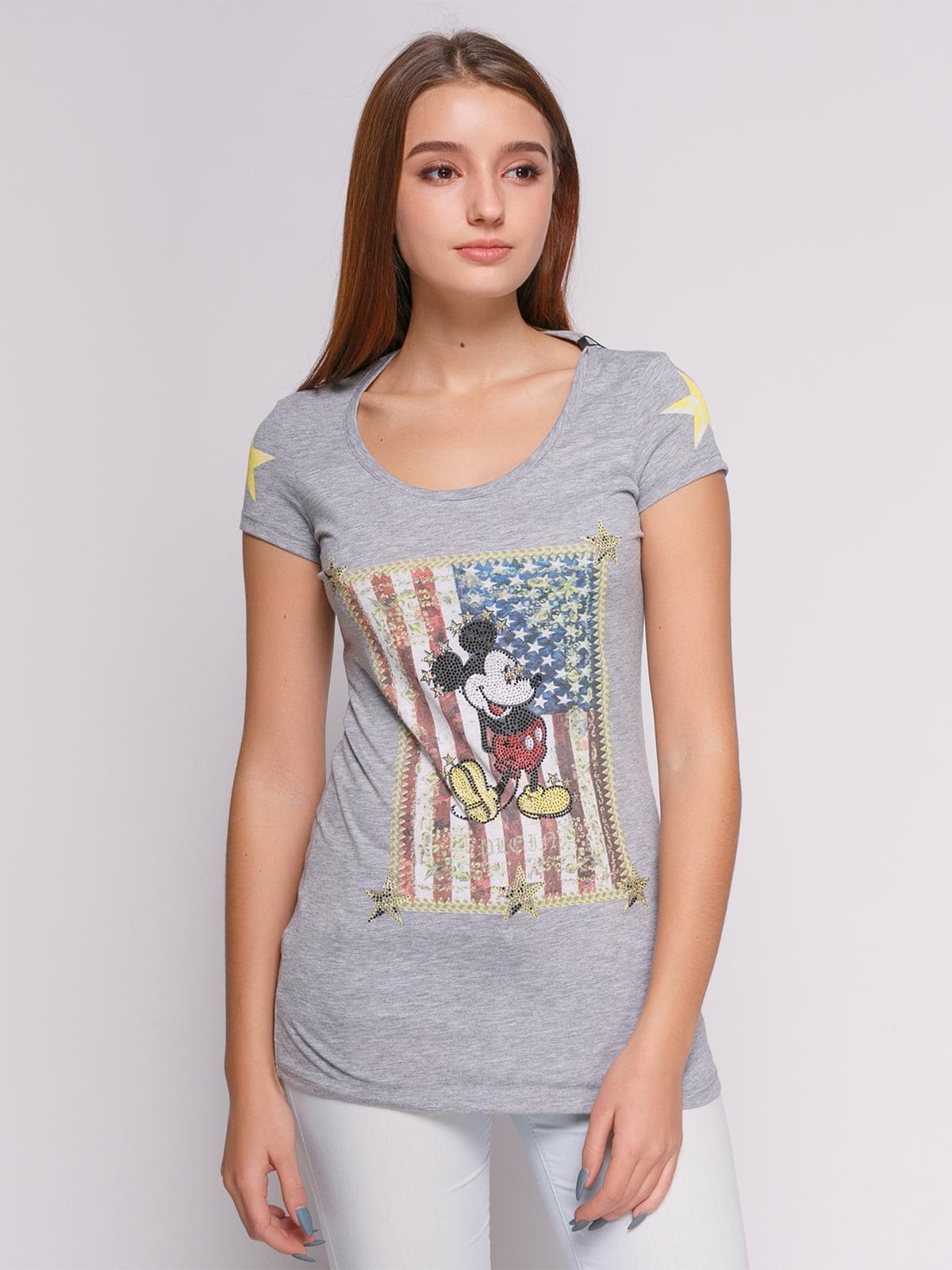 Футболка светло-серая с американской символикой и изображением Микки Мауса | 434164