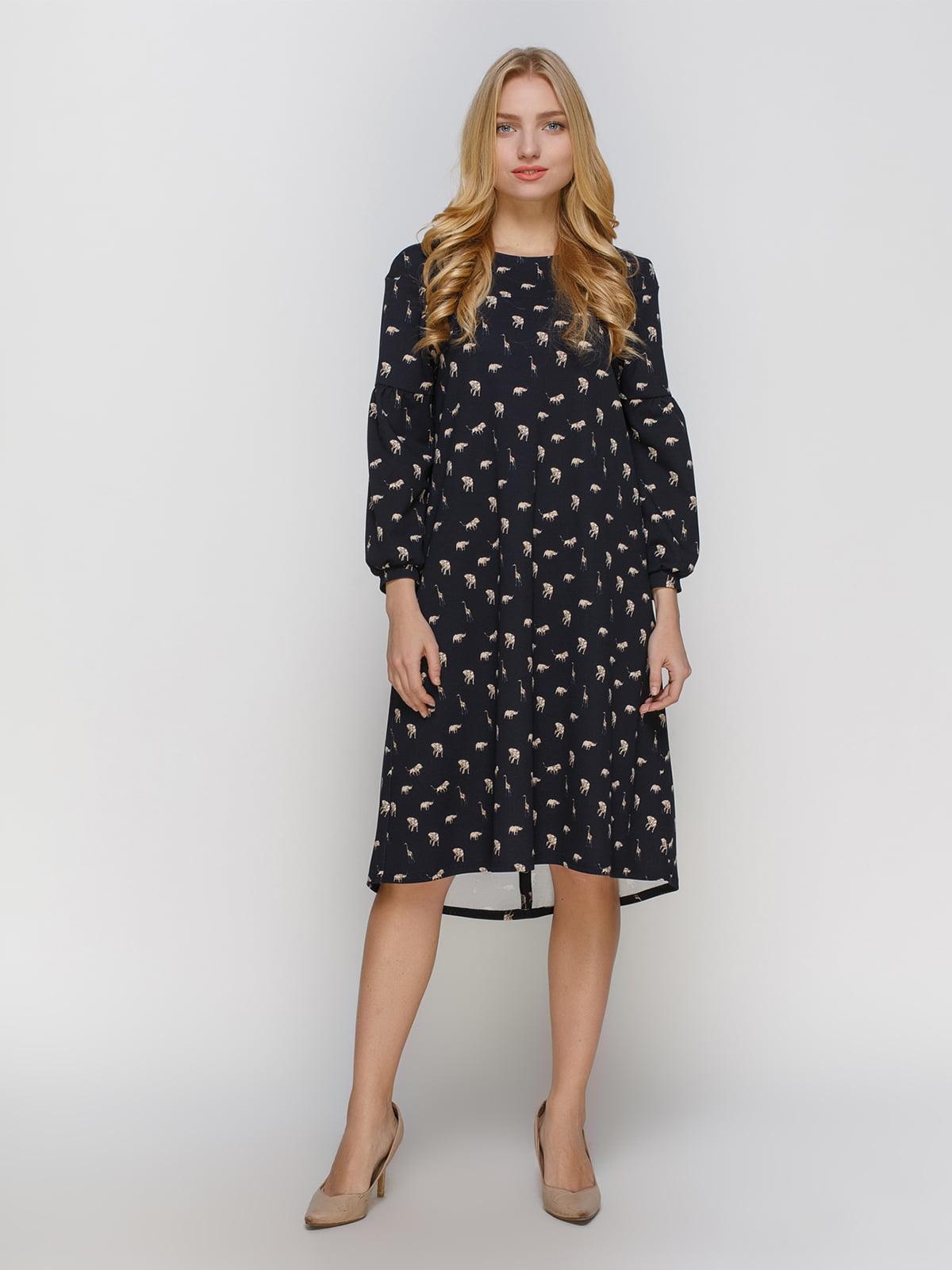 Платье черное в принт | 4810147