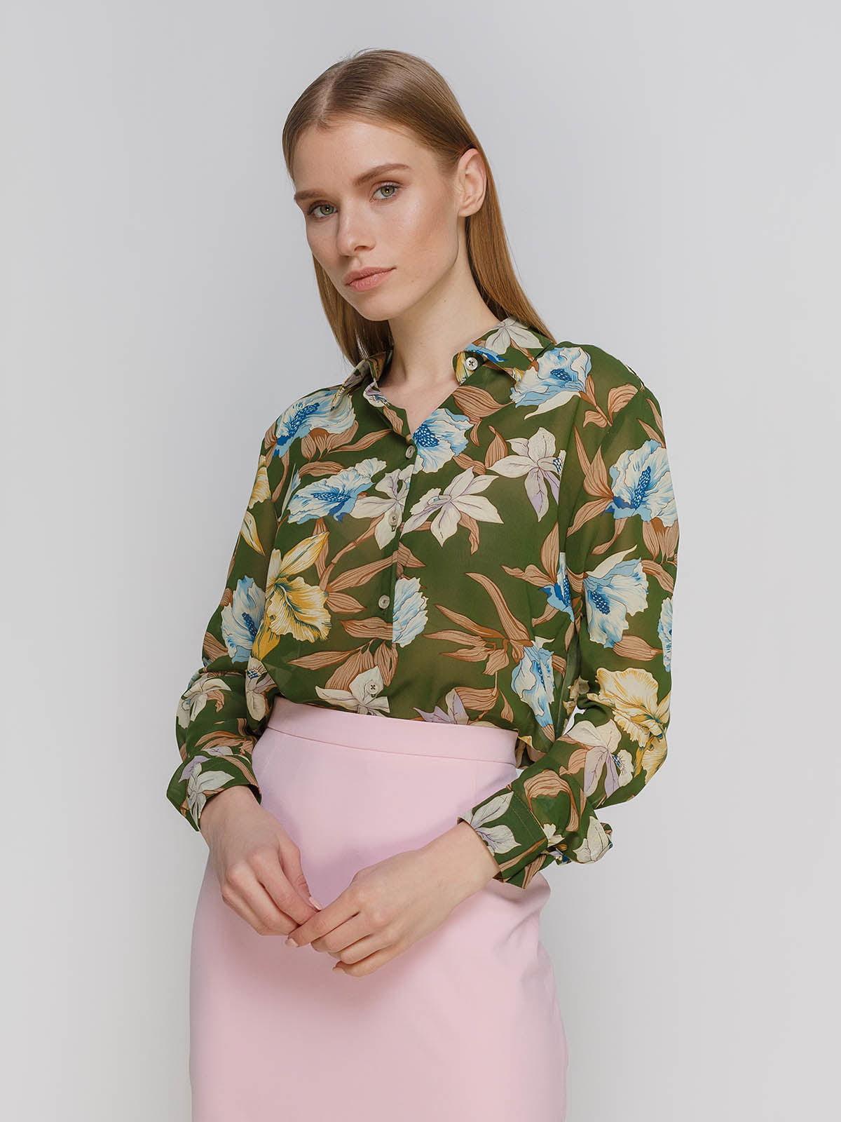 Рубашка в цветочный принт | 4695433