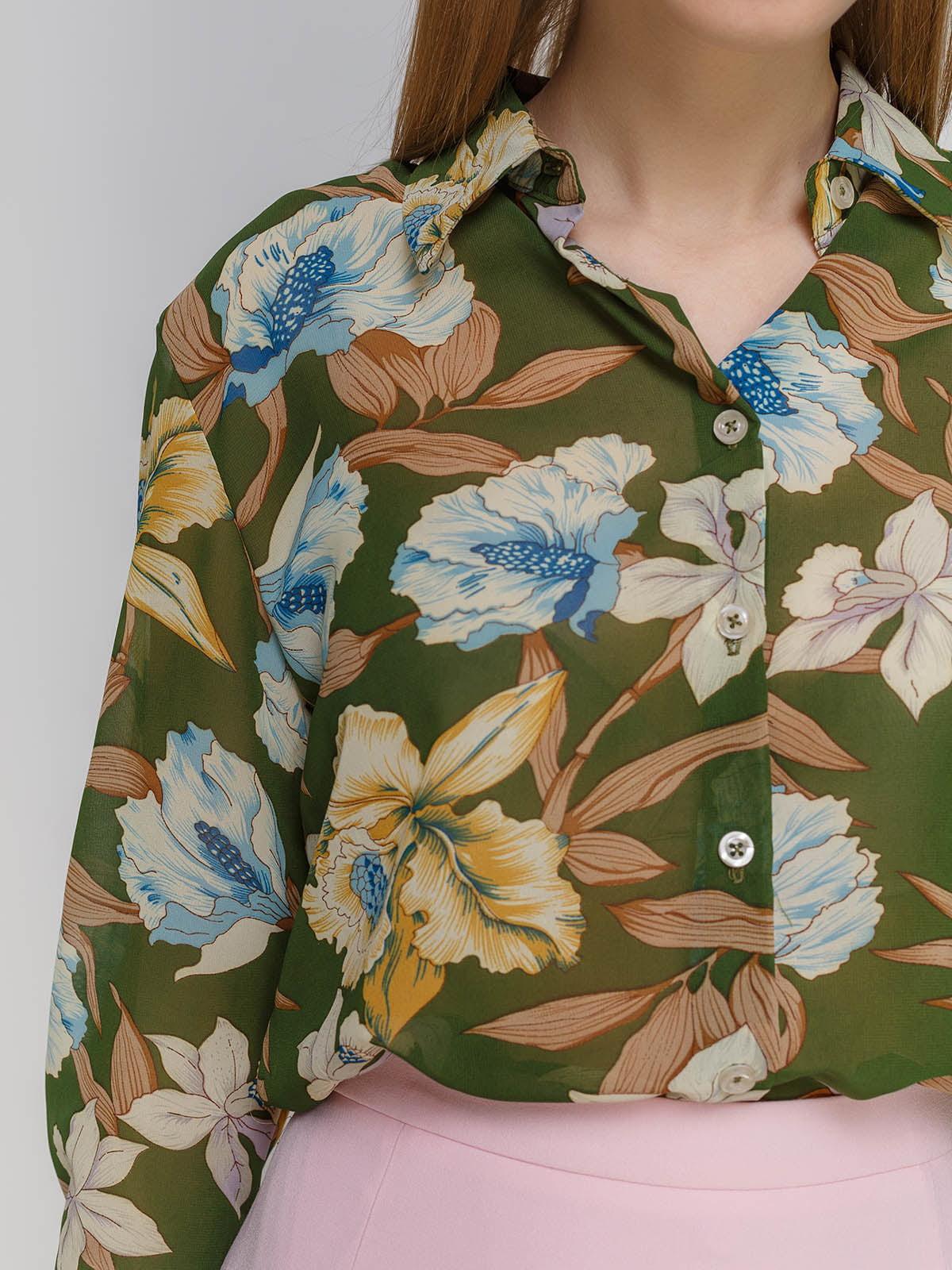Рубашка в цветочный принт | 4695433 | фото 3