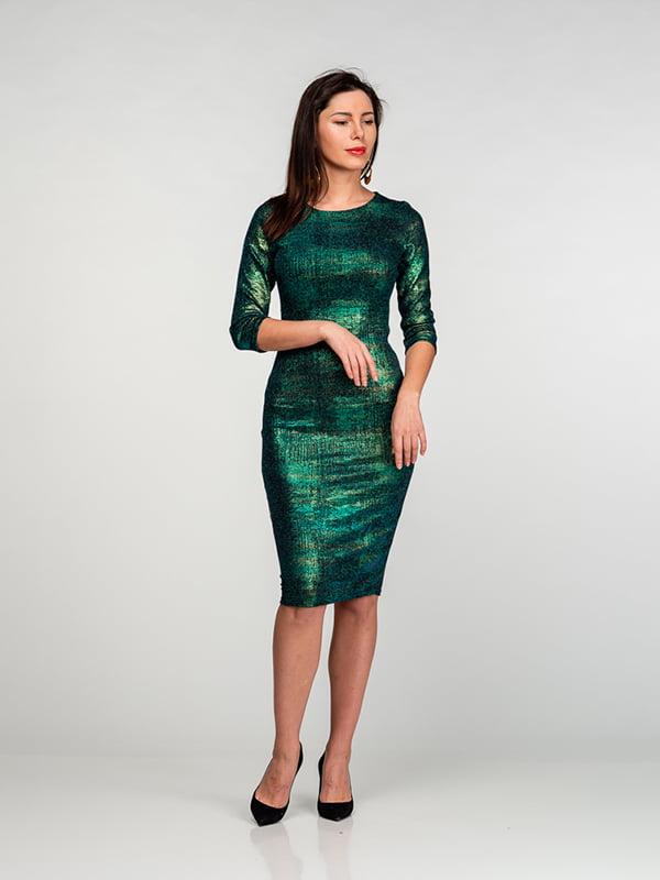 Платье зелено-синее с эффектом хамелеона | 4818082
