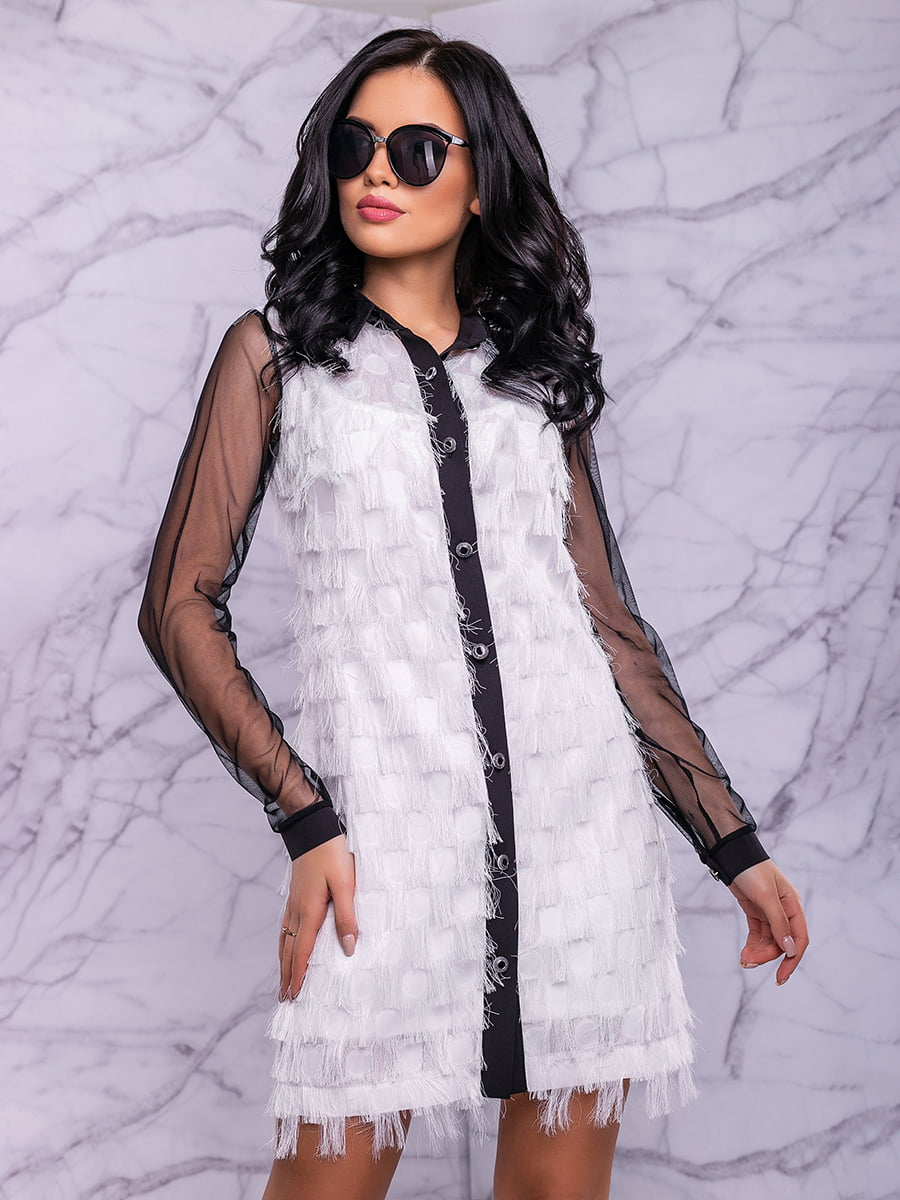Платье бело-черное | 4822884