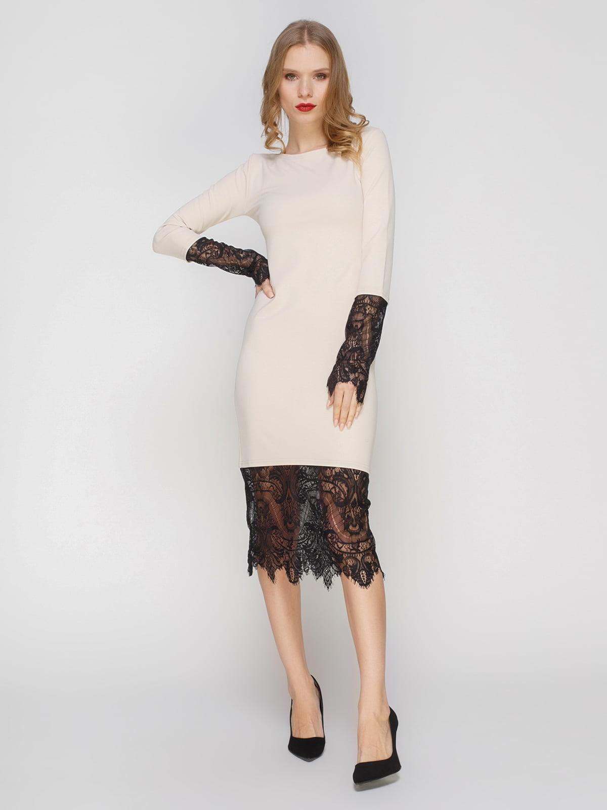 Сукня кремова з мереживом | 2056219