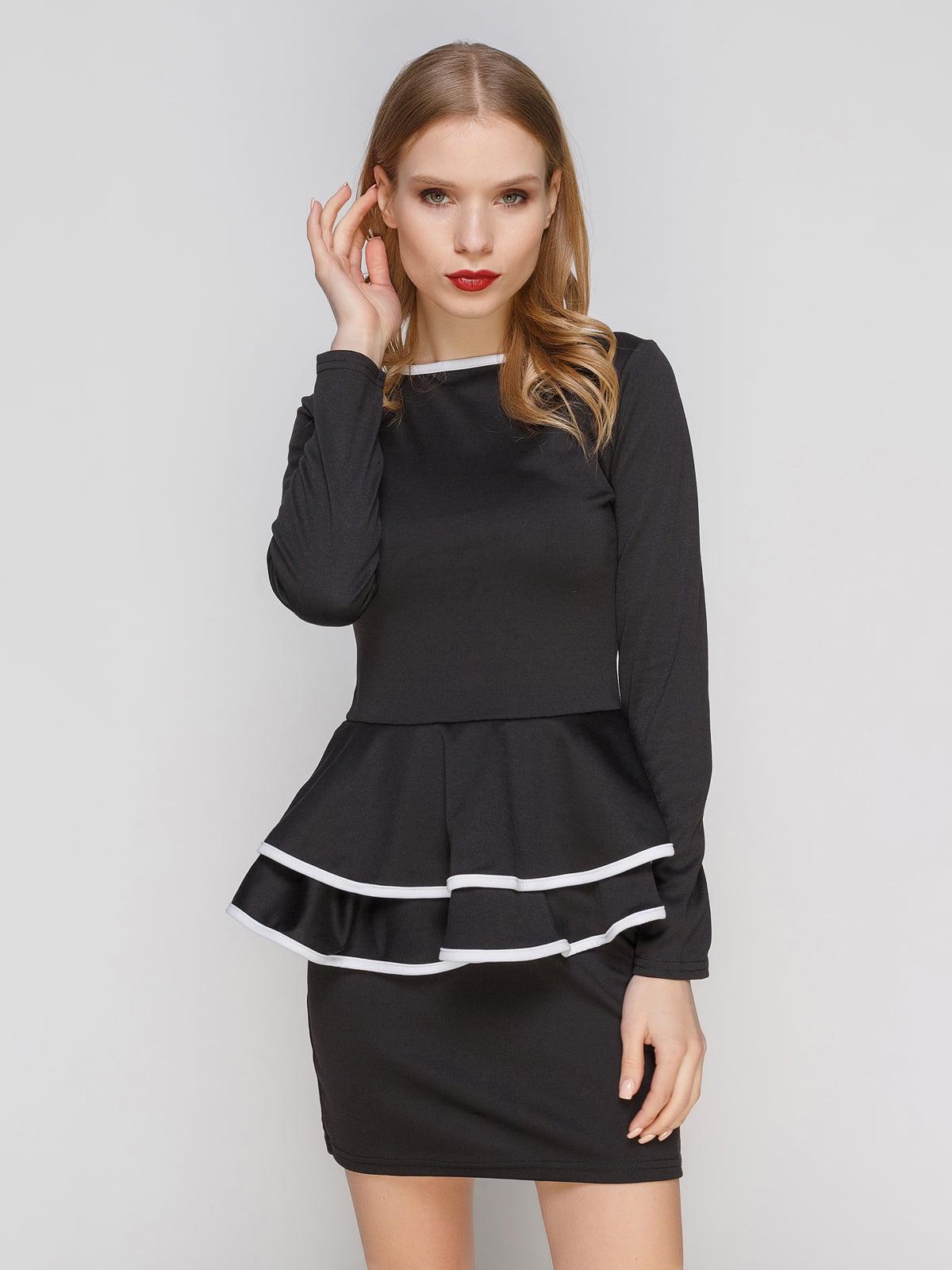 Сукня чорна з баскою і каймою білого кольору | 2003586