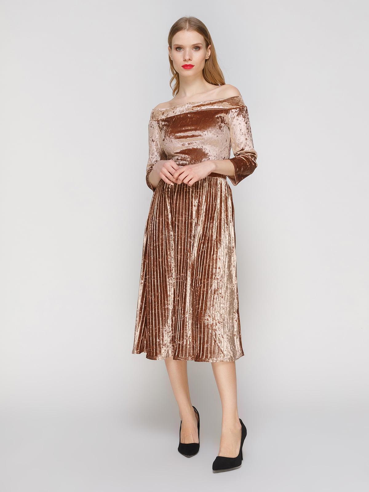 Сукня плісе з відкритими плечима | 3778201