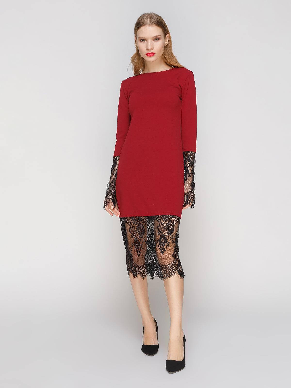 Сукня кольору марсала з мереживом   2994714