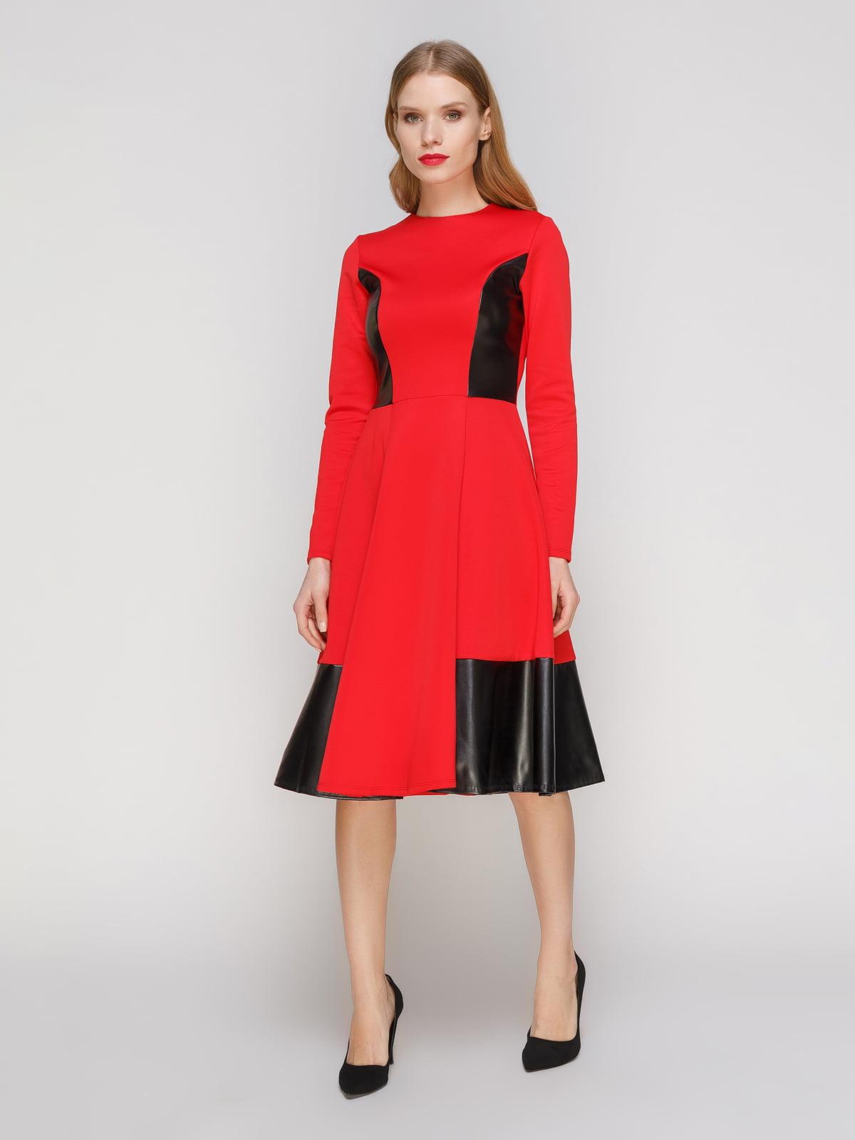 Сукня червона зі шкіряними вставками | 2141678