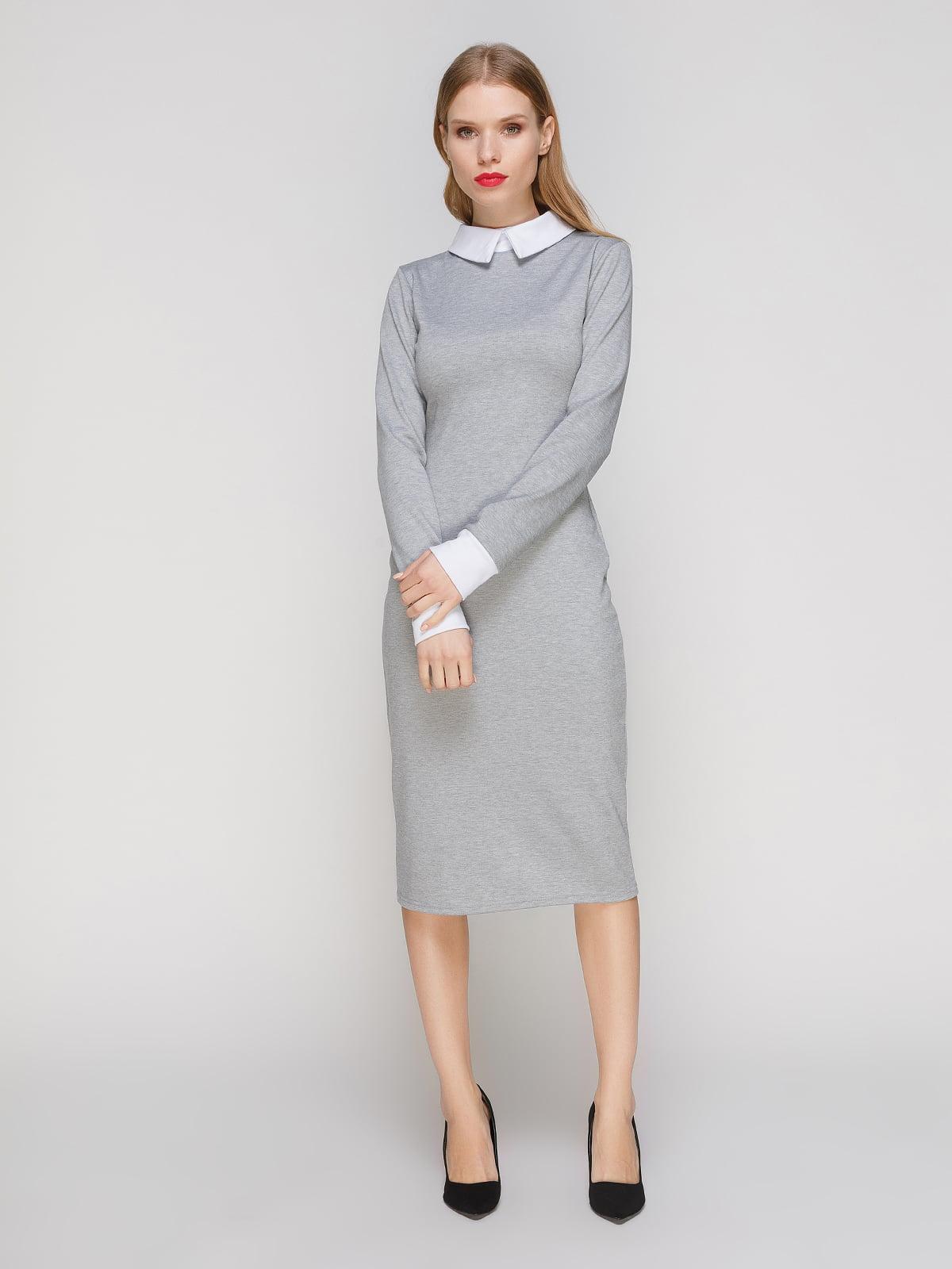 Сукня сіра з білим коміром і манжетами | 2994711