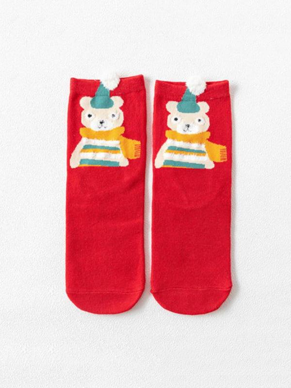 Шкарпетки червоні з малюнком підліткові | 4820870