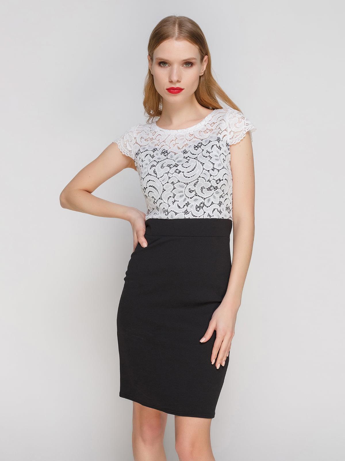 Сукня чорно-біла з гіпюром | 3361606