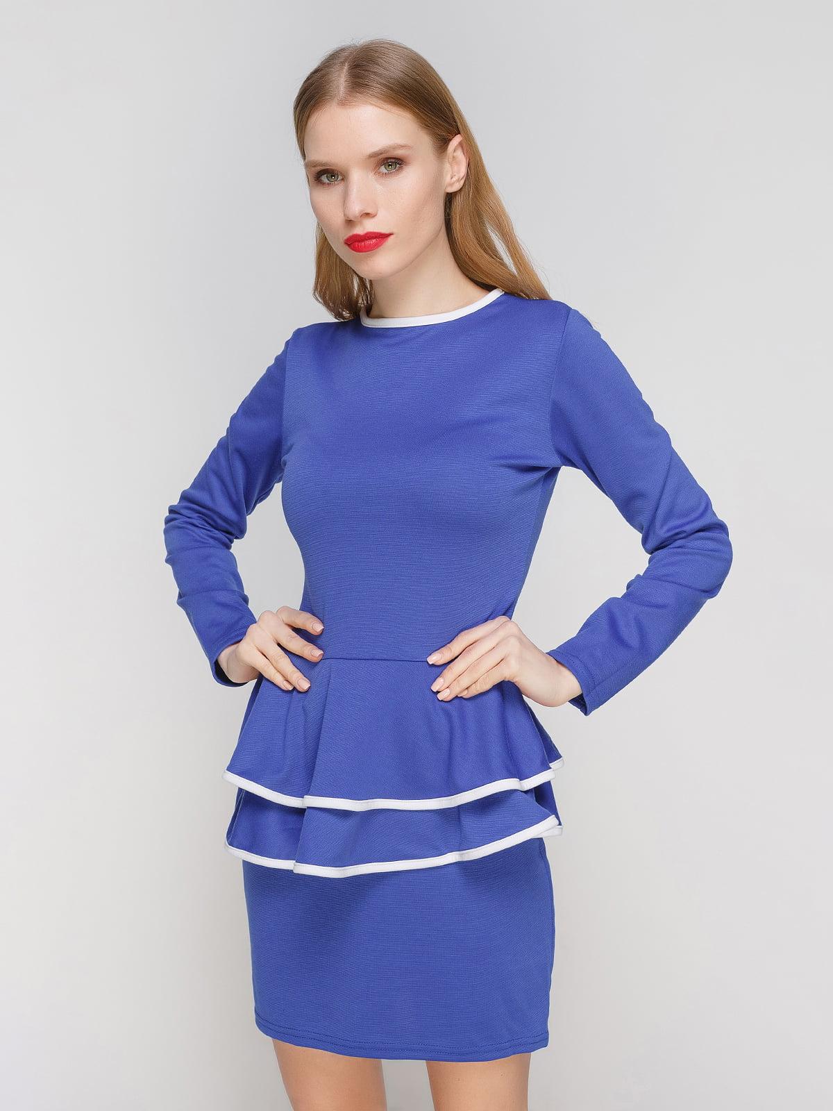 Сукня синя з каймою білого кольору | 2003587
