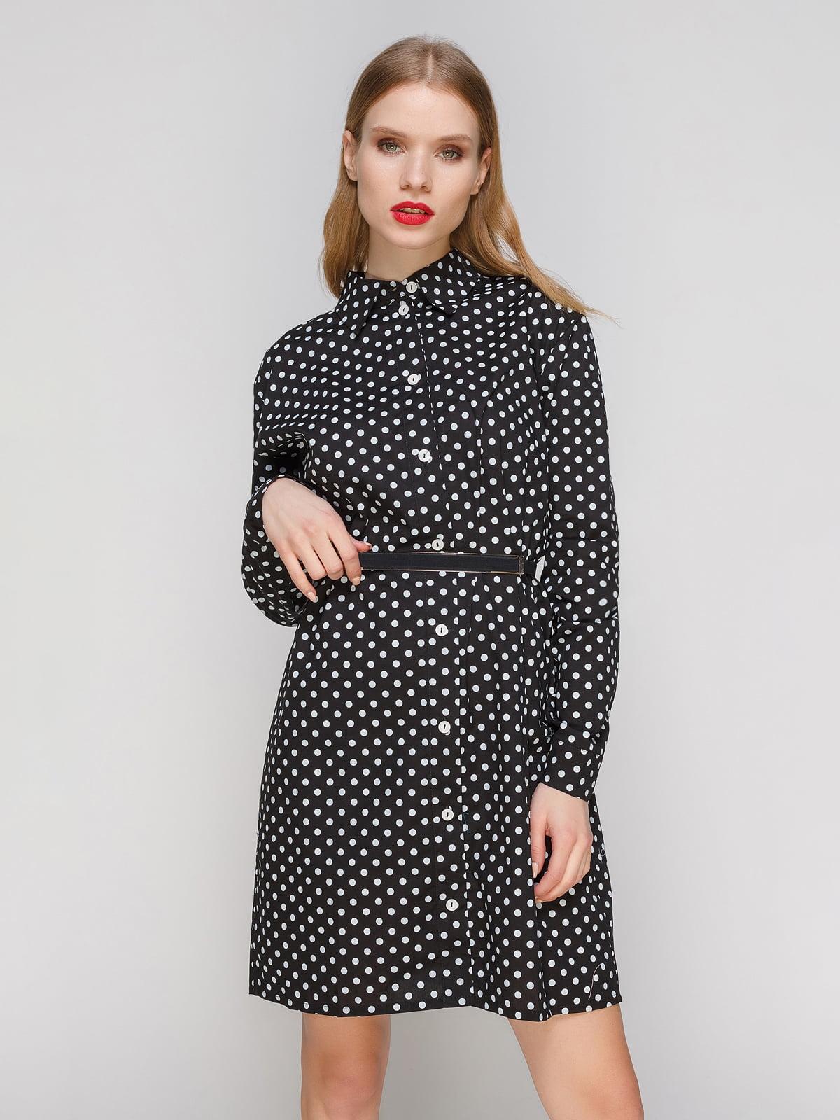 cd34f02133c Платье-рубашка черное в горох — CELEBRITY
